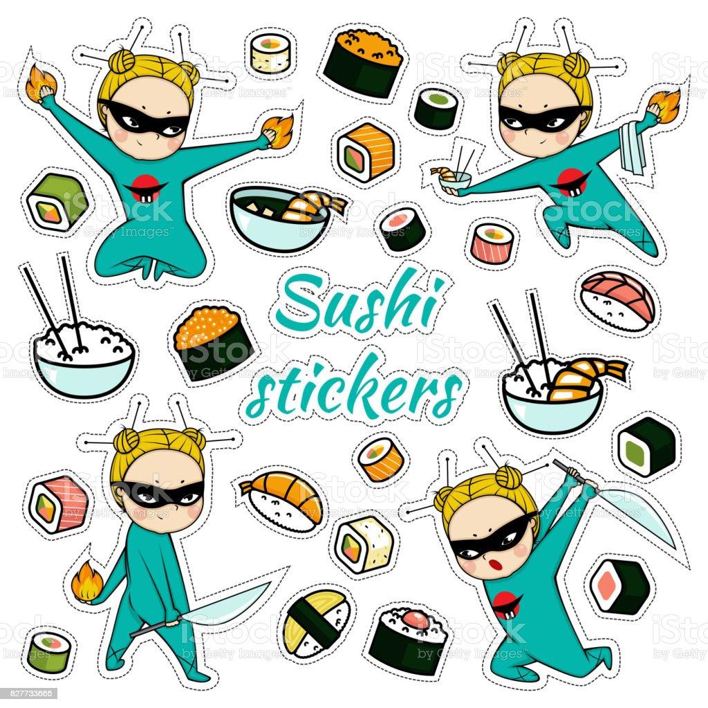Modele De Stickers Sushi Isole Vector Vecteurs Libres De Droits Et Plus D Images Vectorielles De Aliment Istock