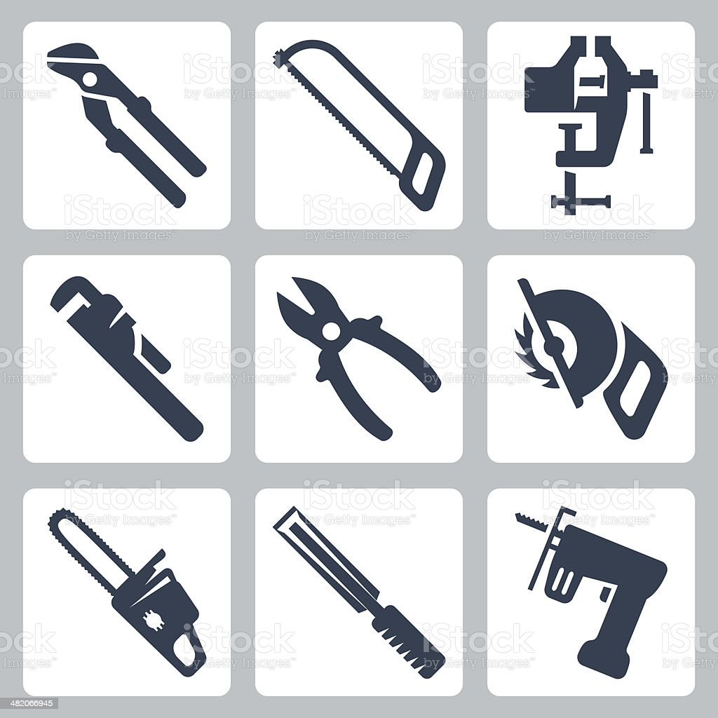 Vector isolated tools icons set vector art illustration