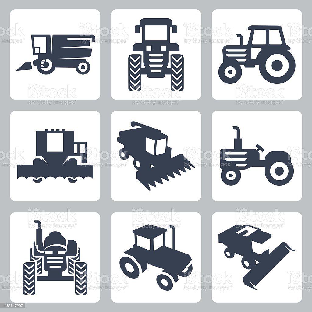 Vector isolated tractor and combine harvester icons vector art illustration