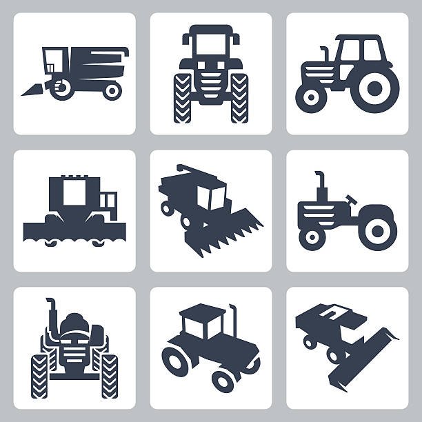 Vector isolated tractor and combine harvester icons Vector isolated tractor and combine harvester icons harvesting stock illustrations