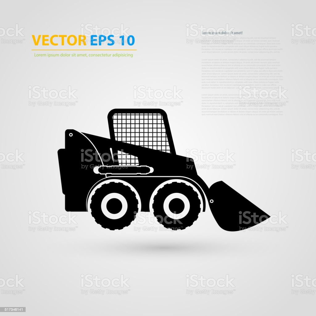 Vector isolated tractor icons. silhouettes. vector art illustration