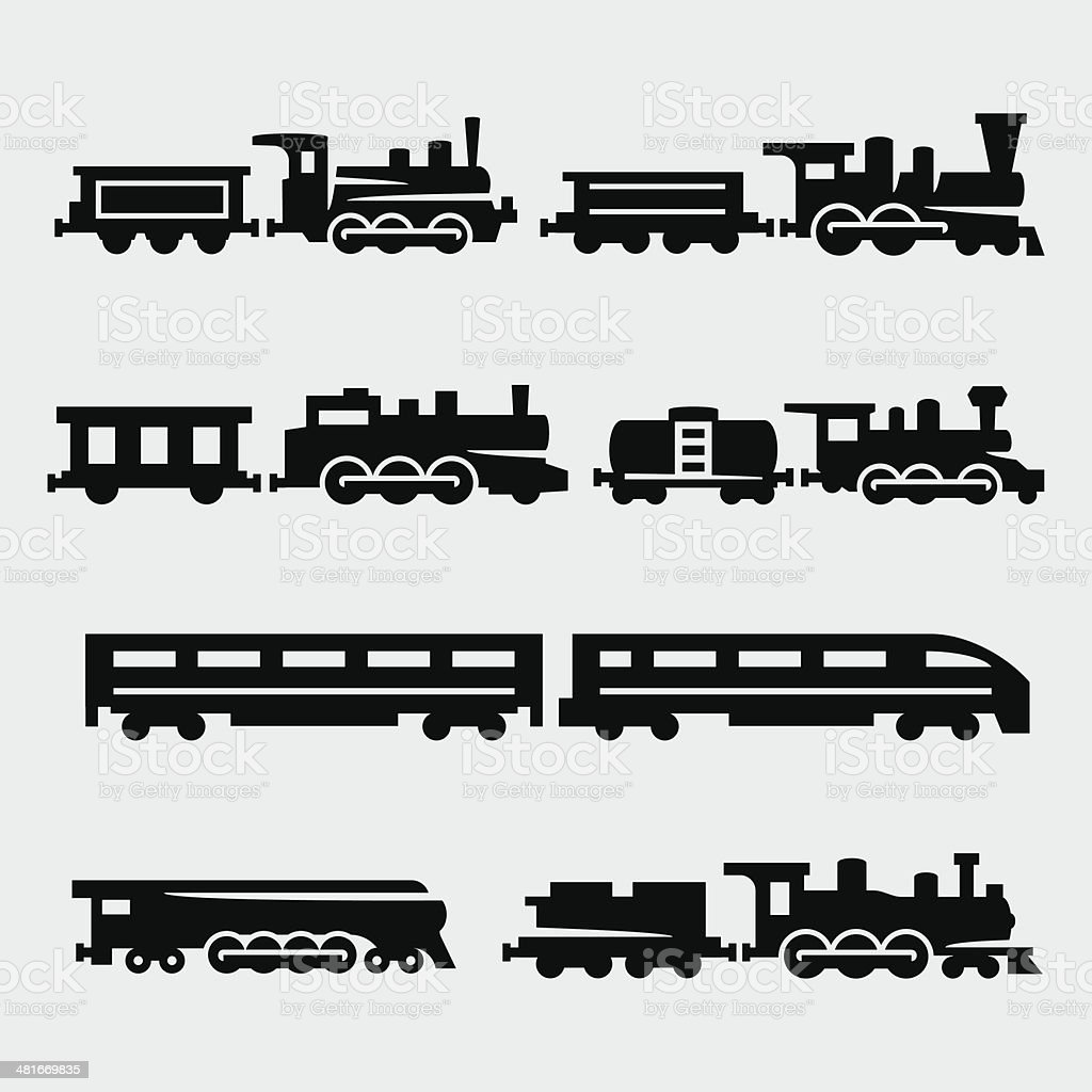 Vector isolated trains silhouettes set vector art illustration