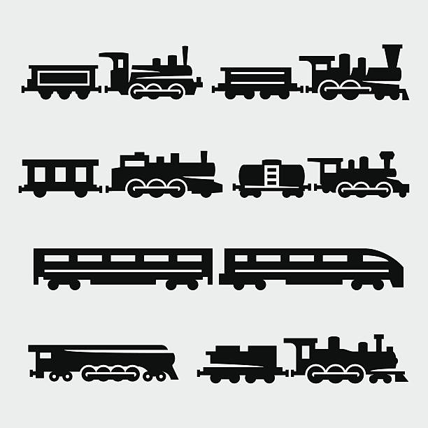 Ensemble de silhouettes vecteur isolé trains - Illustration vectorielle