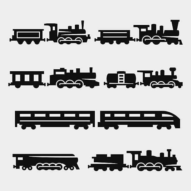 ilustraciones, imágenes clip art, dibujos animados e iconos de stock de trenes conjunto de siluetas de vector de aislamiento - tren
