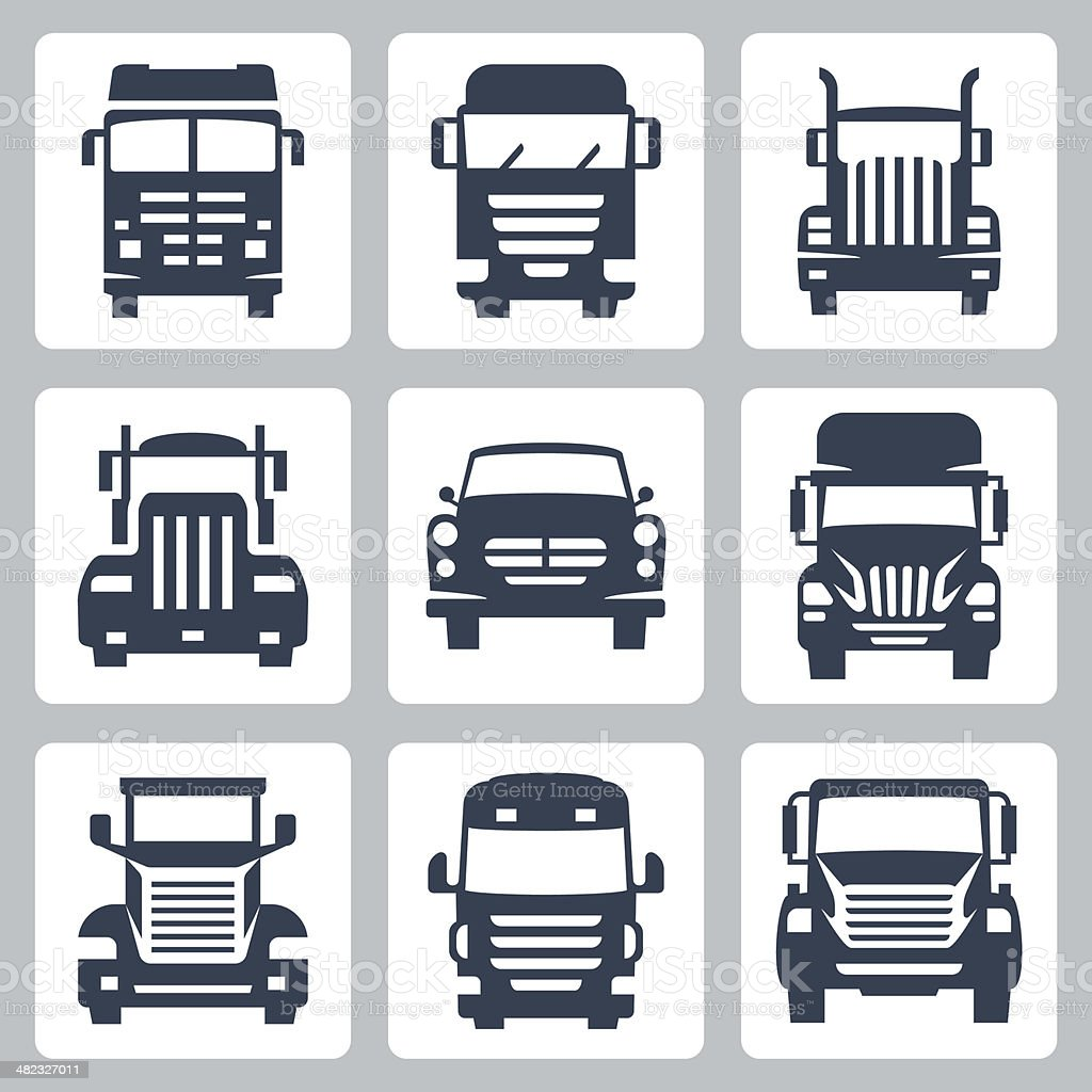 Vector isolated trucks icons set: front view vector art illustration