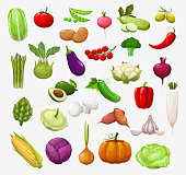 istock Vector isolated vegetables and salads 1216935043