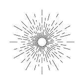 Vector isolated vintage sun rays for decoration and covering on the white background. Concept of sunburst and retro design.