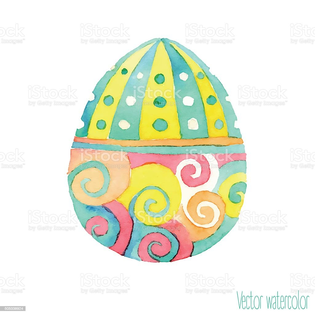 vector isolated watercolor hand drawn easter egg stock vector art