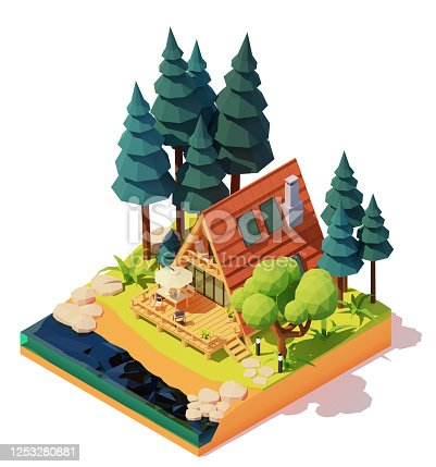 Vector isometric modern a-frame house in the pine wood. Wooden a-frame cabin on the river or lake bank. Outdoor furniture on patio, umbrella, table, chairs, barbeque grill