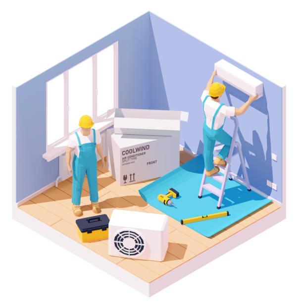 Vector isometric air conditioner installation vector art illustration