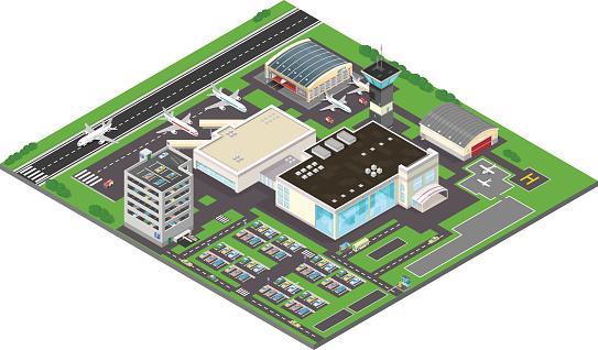 Vector Isometric Airport Icon.