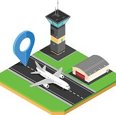Vector Isometric Airport Map Icon