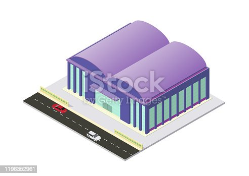 istock vector isometric airport or warehouse building 1196352961