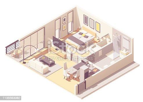 istock Vector isometric apartment hotel suite 1135563062