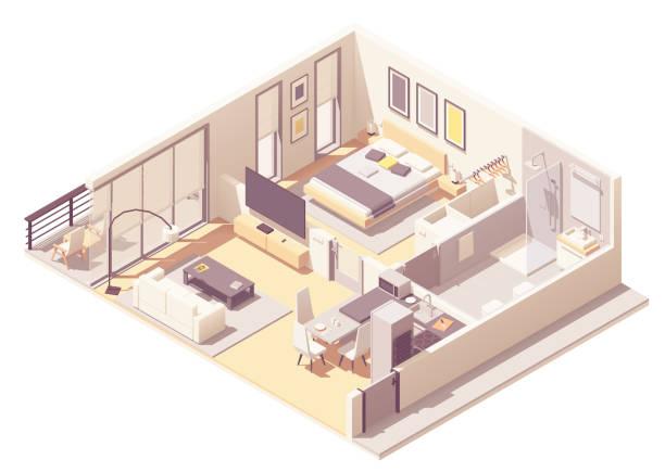 illustrazioni stock, clip art, cartoni animati e icone di tendenza di vector isometric apartment hotel suite - appartamento
