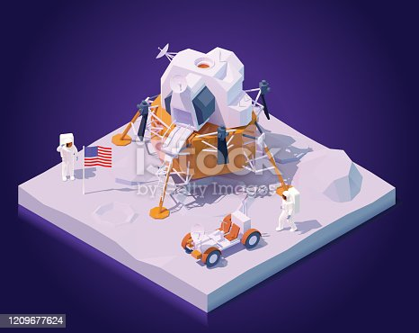 istock Vector isometric astronauts on Moon mission 1209677624
