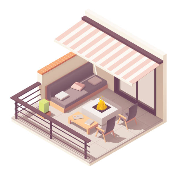 Vector isometric balcony with outdoor furniture Vector isometric balcony with metal railing, outdoor wooden furniture - table, chairs, sofa, fire pit and awning patio stock illustrations
