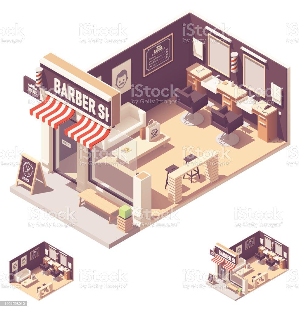ベクトル同数理髪店インテリア - 3Dのロイヤリティフリーベクトルアート