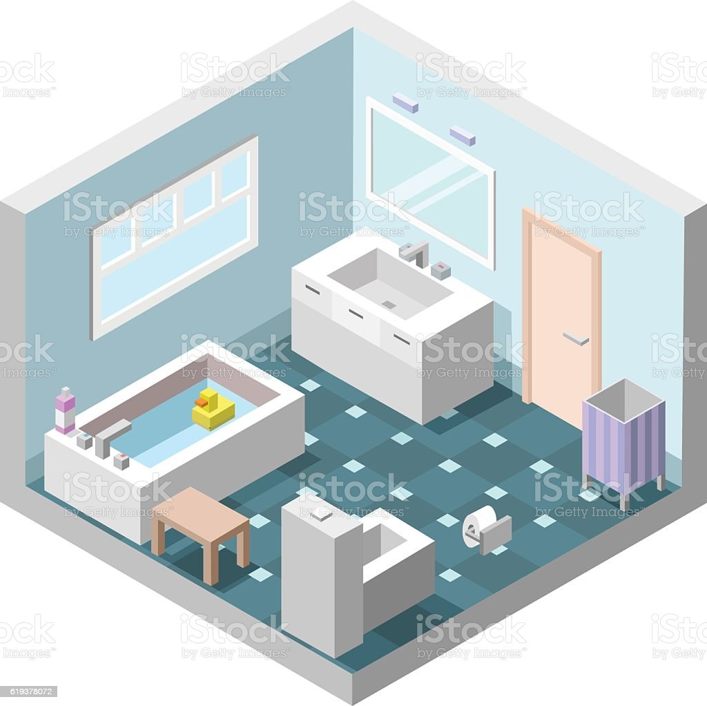 Vector Isometric Bathroom Set Of Bath Furniture Stock Vector Art ...