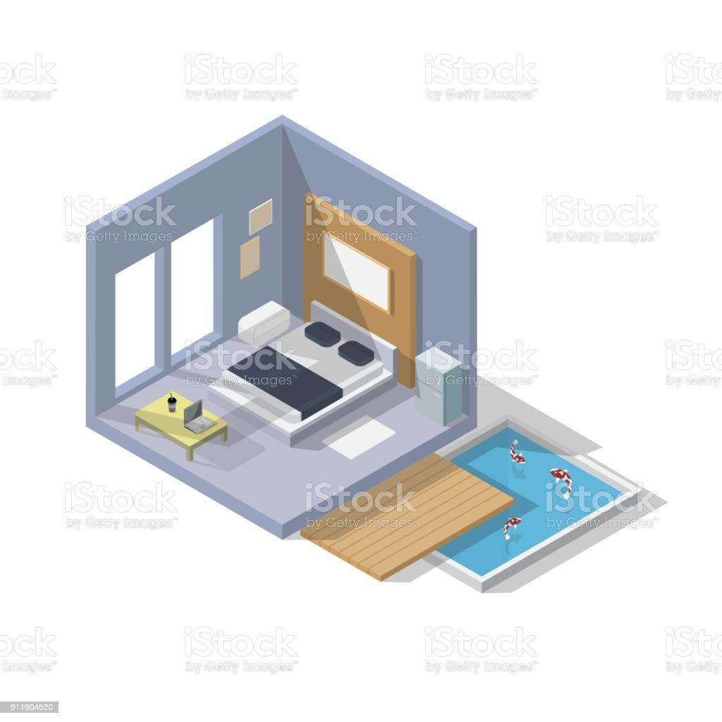 Vector Isometric Rooms Icon Stock Vector: Vector Isometric Bedroom Icon Room Includes Bed Laptop