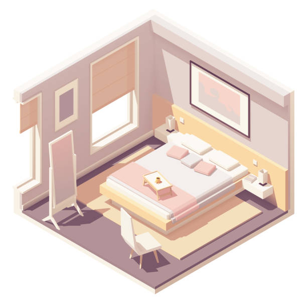 Vector isometric bedroom Vector isometric bedroom with double bed, carpet, floor mirror, nightstands and night lamps bedroom stock illustrations
