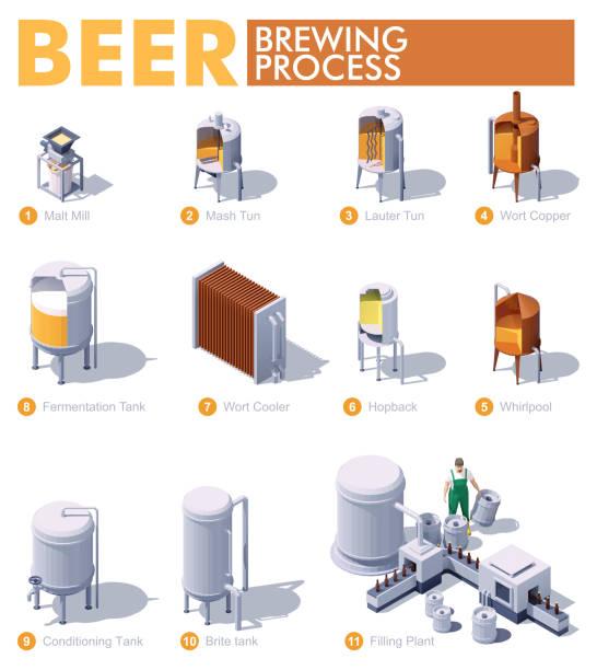 Vector isometric beer brewing process vector art illustration