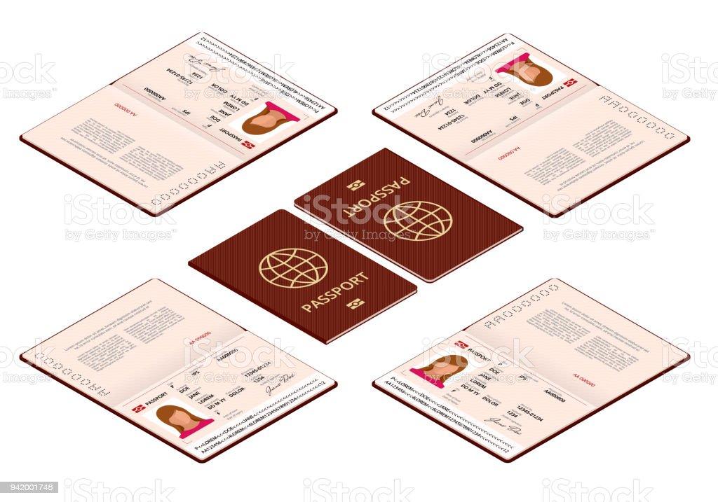 Vektor-isometrische leere offene Pass-Vorlage. Reisepass mit Personendaten Beispielseite. Dokument für die Reise und Einwanderung. Vektor-Illustration isoliert. – Vektorgrafik