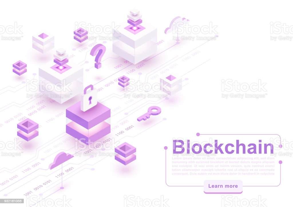 Vector isometric blockchain concept illustration vector art illustration