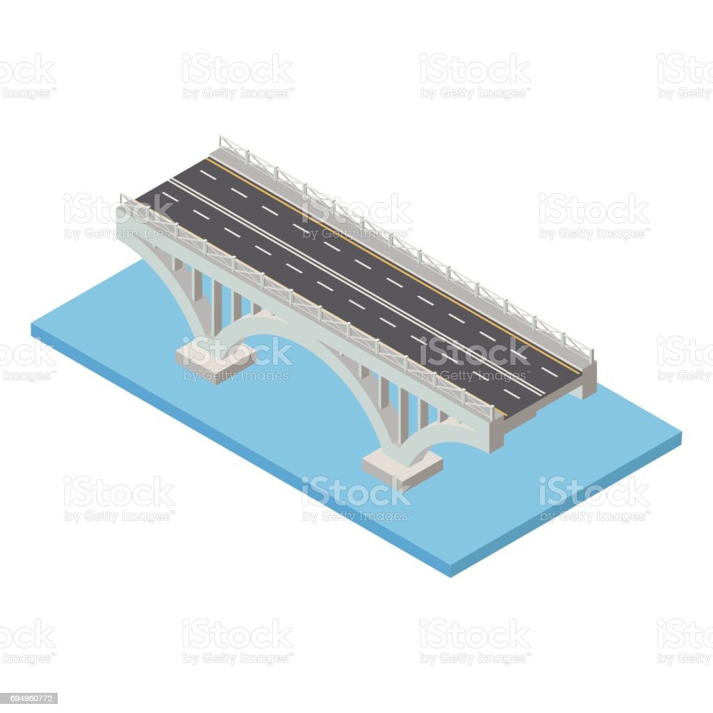 Vector isometric bridge. Transport  infrastructure 3d element representing low poly structure for city map creation. vector art illustration