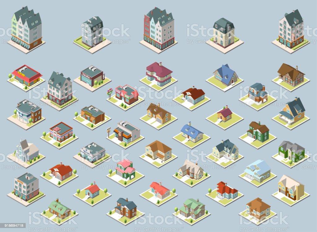 Vector isometric buildings set. Isolated on blue background. векторная иллюстрация