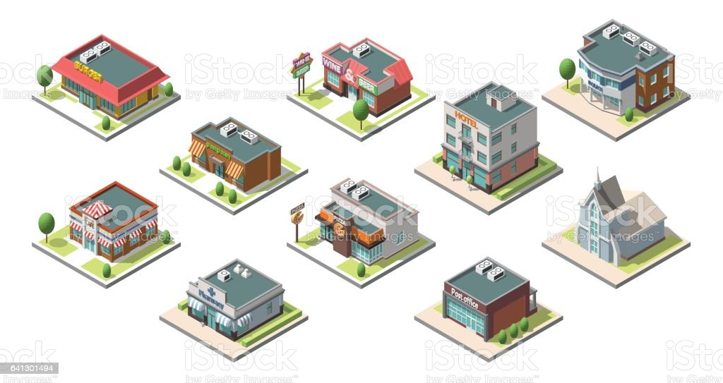 Vector isometric buildings set. Isolated on white background векторная иллюстрация