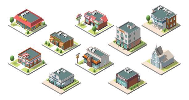 illustrations, cliparts, dessins animés et icônes de vector isometric buildings set. isolated on white background - commissariat