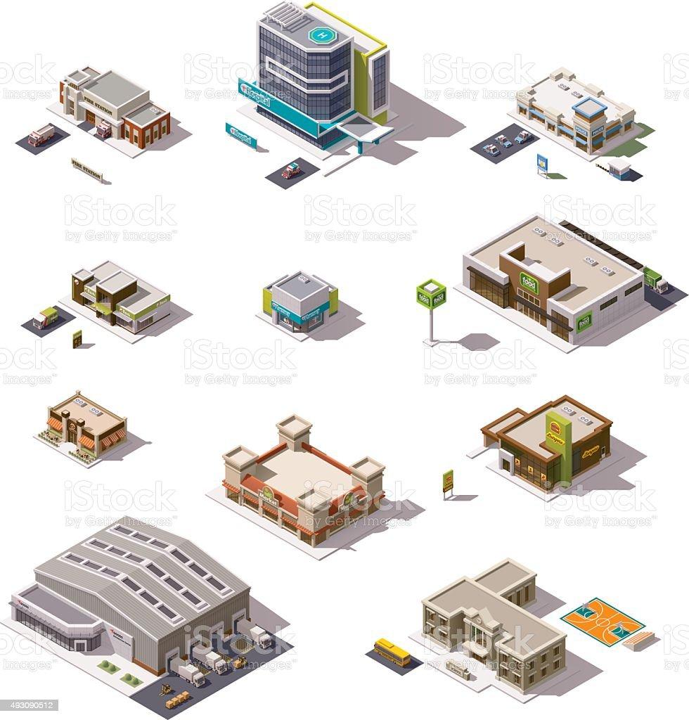 Vector isometric buildings set vector art illustration