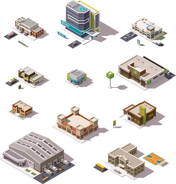 illustrazioni stock, clip art, cartoni animati e icone di tendenza di set vettoriale di edifici isometrici - prodotti supermercato