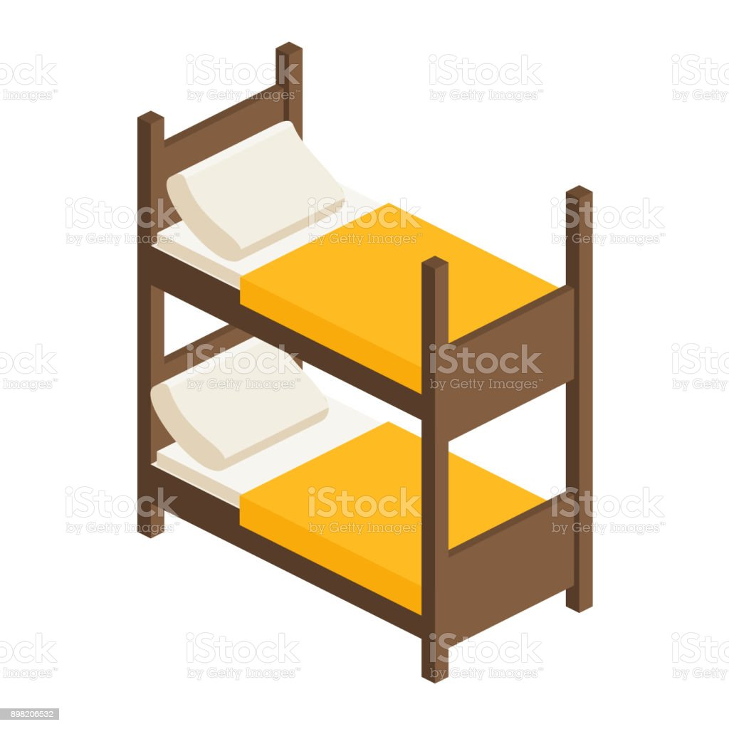 Picture of: Vector Isometric Bunk Bed For Adults And Children Stock Illustration Download Image Now Istock