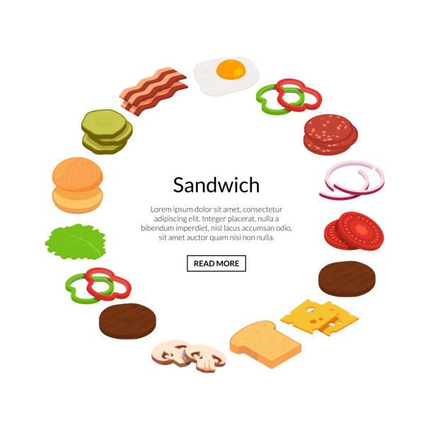 bildbanksillustrationer, clip art samt tecknat material och ikoner med vector isometrisk burger ingredienser illustration färg platta - cheese sandwich