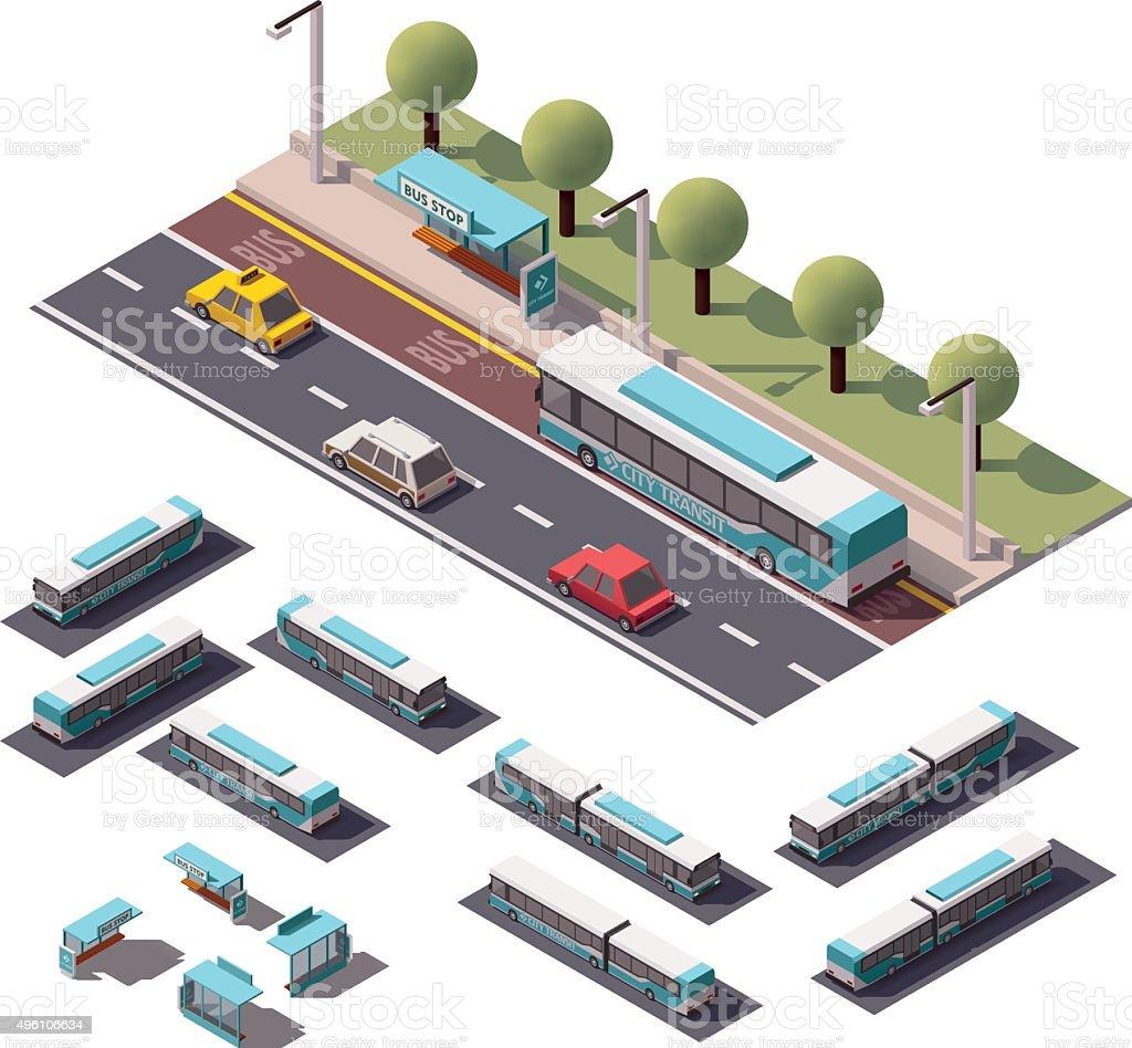 Ensemble de vecteur Isométrique bus - Illustration vectorielle