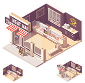Vector isometric butcher shop or meat store storefront and interior cross-section. Wooden counter, fridges with meat, beef cuts chart on the wall, meat grinder and butchers knives