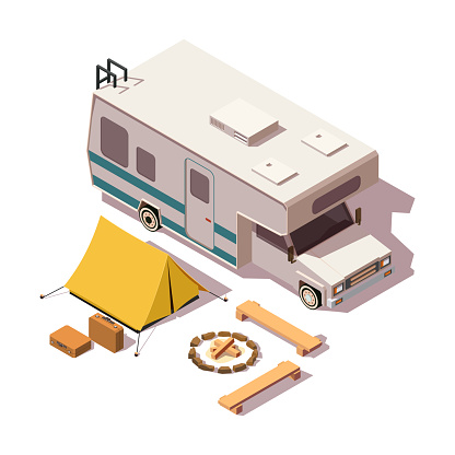 Vector isometric camper van and camping equipment on the isolated white background