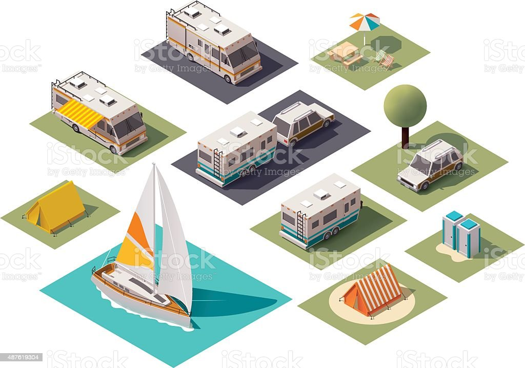Vector isometric camping icons vector art illustration