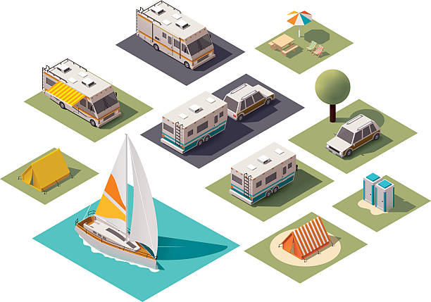 Vector isometric camping icons Isometric camping and travel equipment motor home stock illustrations