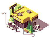Vector isometric car rental agency office with cars parked nearby