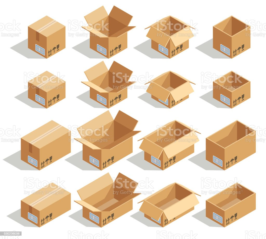 Vector isometric cardboard boxes vector art illustration