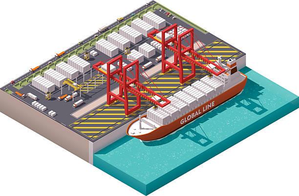 ilustrações de stock, clip art, desenhos animados e ícones de porto de carga vector minibarra de ferramentas - porto
