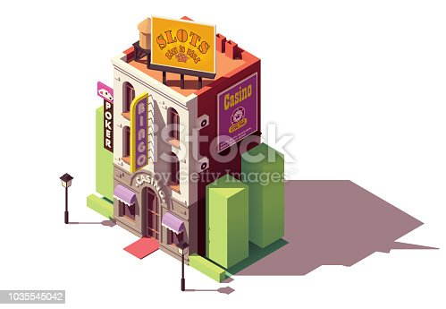 Vector isometric casino or gambling house building with neon sign and gambling advertising billboardVector isometric casino or gambling house building with neon sign and gambling advertising billboard