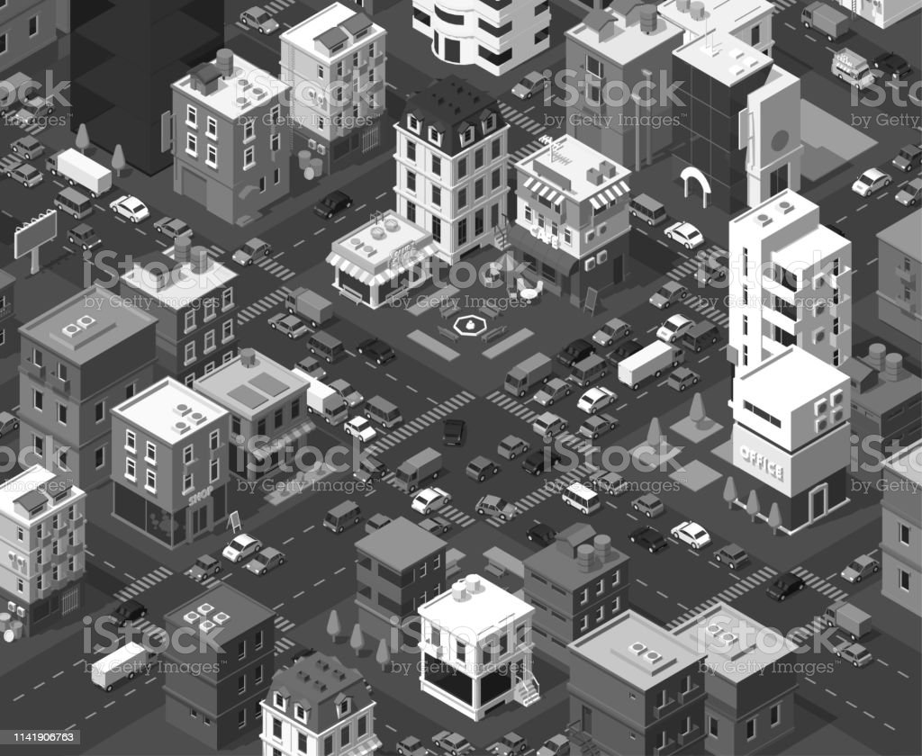 Vector Isometric City Black And White Town District Street