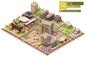 Vector isometric city or town block with building construction site and bus terminal. Buildings, houses, homes and offices. People and transport on the streets.