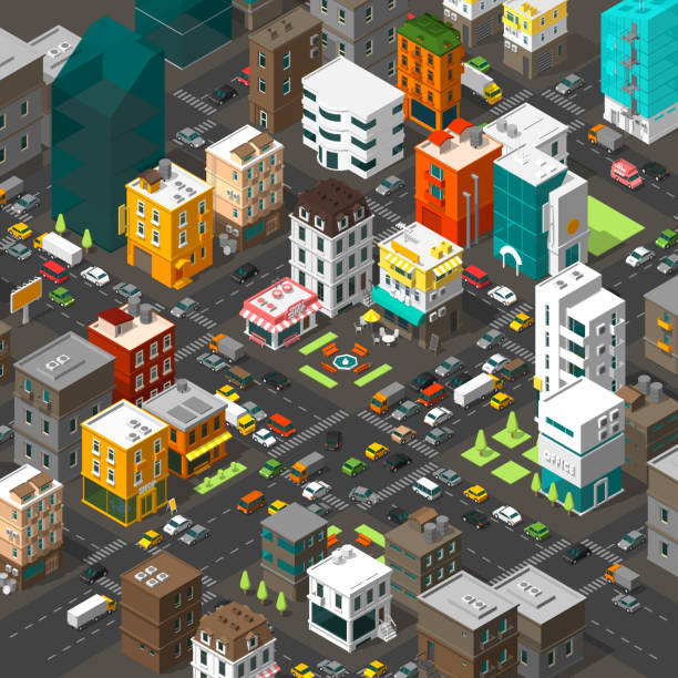 Vector isometric city. Cartoon town district. Street Intersection road 3d. Very high detail projection. Cars end buildings top view. Vector isometric city. Cartoon town district. Street Intersection road 3d. Very high detail projection. A lot of cars end buildings top view. buildings top view. Vector illustration stock clipart. busy stock illustrations