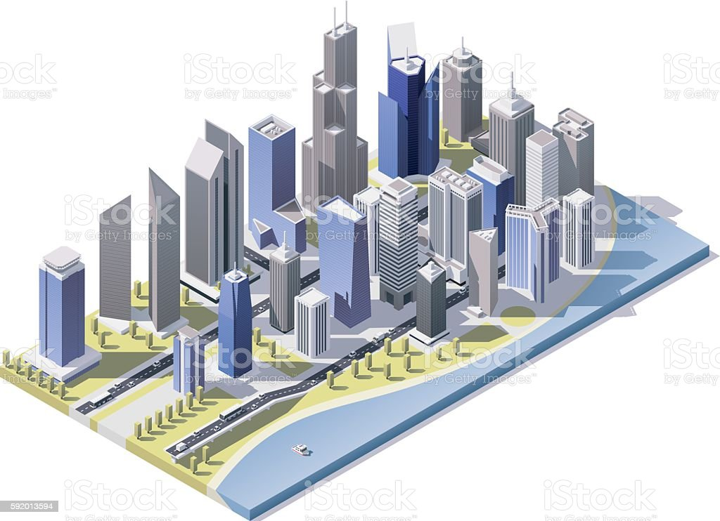Vector isometric city downtown vector art illustration