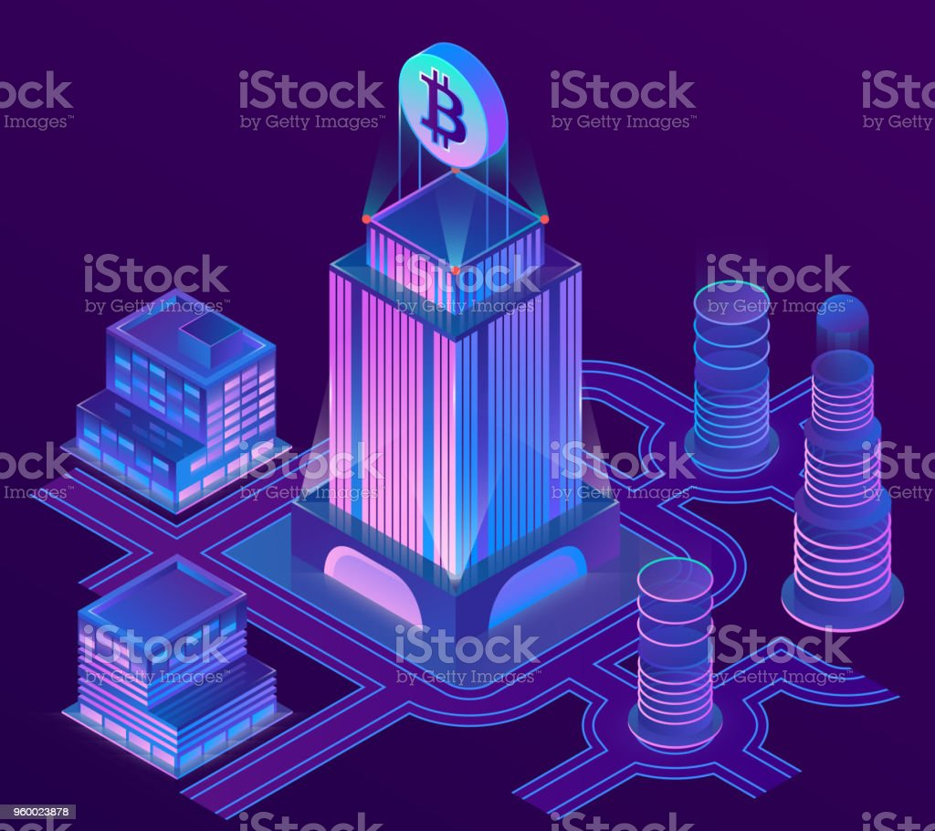 Vector isometric city in ultra violet colors vector art illustration